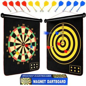 Magnetic Dart Board - 2 Sided Roll Up Dartboard, Indoor Outdoor Games for Kids and Adults with 12pcs Safe Darts for Sale in Sterling Heights, MI