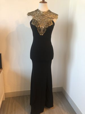 Black prom dress gold detailing for Sale in Westminster, CO