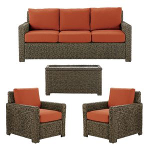 New Hampton Bay Laguna Point 4-Piece Brown Wicker Outdoor Patio Deep Seating Set with Standard Quarry Red Cushions☆Pick up only☆ for Sale in Phoenix, AZ