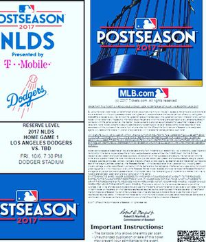 10/6/17 Dodgers Postseason (RS28) Friday GAME 1 vs Dbacks for Sale in Long Beach, CA