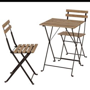 3 Pieces Outdoor Patio Wooden/ Metal Foldable Bistro Set (2 Chairs + Table) for Sale in Renton, WA