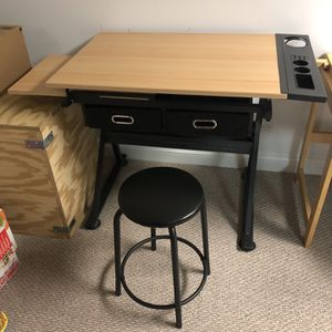 Artists Loft Creative Center Art Desk With Storage And Black Stool for Sale in Mundelein, IL