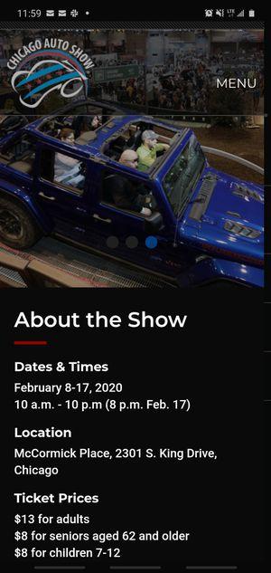 chicago auto show 2 tix $13 for Sale in Chicago, IL
