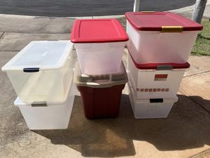 7 Plastic Storage Containers. for Sale in Kapolei, HI