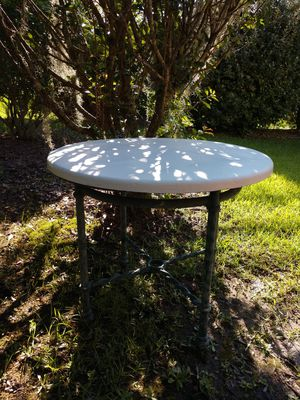 "Patio/dining table. Ultrastone Pompeii 36"" top on solid panntied wrought iron beautiful base for Sale in Savannah, GA"