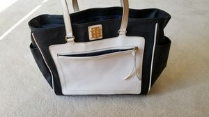 handbag/ tote; Tommy Hilfiger monogrammed Tote, Handbag, Diaper Bag, many pockets inside & out. good shape though Condition is Pre-owned. for Sale in Layton, UT