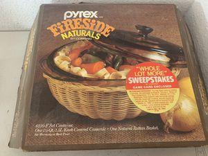 PYREX Fireside Naturals Set 6230-F 1.5 Qt Casserole Dish w Rattan Basket for Sale in Beaverton, OR