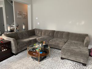 Grey Suede Sectional Couch for Sale in Jonesboro, GA