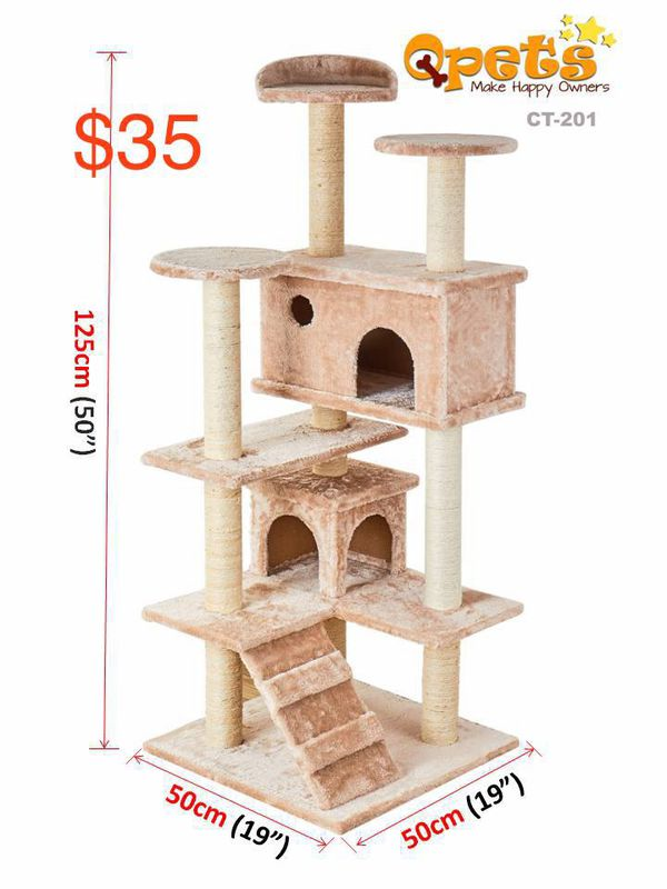 "New cat scratching tree sturdy tower 50"" high small cat tree house"