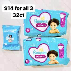 2 Packs Of Size 6 (35+ Lbs) Pampers Cruisers (32 Baby Diapers) + 1 Pack 20ct WlPES for Sale in Anaheim, CA