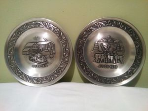 1974/1975 Norwegian Pewter Christmas Plates by Astri Holthe for Sale in Lorton, VA