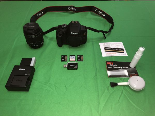 Canon EOS Rebel T7 with accessories