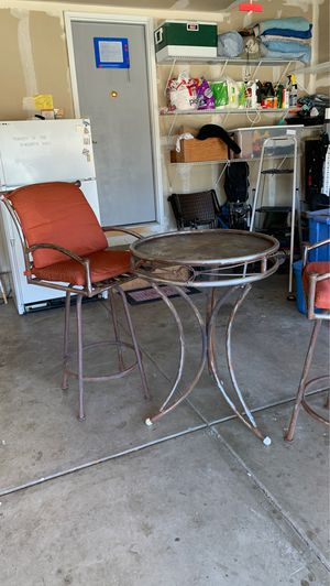 Metal Table With Two High chairs for Sale in Columbine Valley, CO