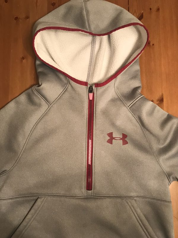 Under Armour Junior Girls Storm Hoodie Pull Over 1/4zipper Loose Fit Kangaroo Pocket Size M 8-10