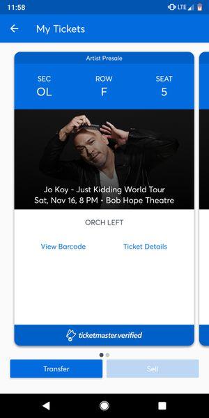 2 Jo Lot tickets @ Bob hope theater for Sale in Stockton, CA