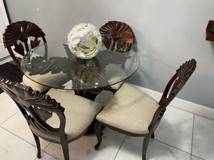Hand carved table and chairs real wood for Sale in Miami, FL