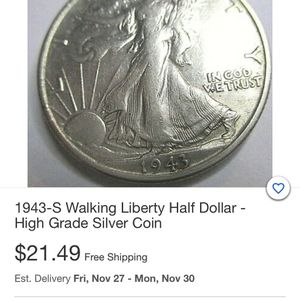 1943 Silver Half Dollar for Sale in West Jefferson, OH