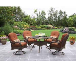 CHAIRS OF 'Better Homes Gardens Azalea Ridge Patio Dining Set' and TABLE OF 'Mainstays Highland Padded Sling Knolls 5-Piece Patio Dining Set' for Sale in Houston, TX