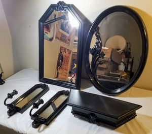 Black Wall Mirrors, Candle holders and Shelf set for Sale in San Antonio, TX