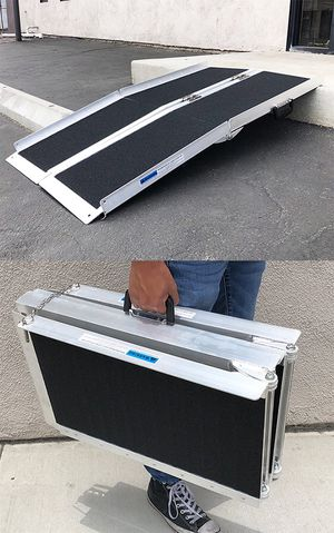 "(NEW) $100 Non-Skid 4' ft Aluminum Portable Wheelchair Scooter Mobility Folding Ramp (48x28"") for Sale in Whittier, CA"