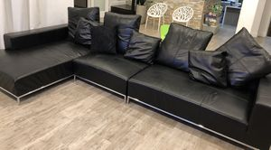 Black Leather Sectional Sofa Couch for Sale in Redwood City, CA