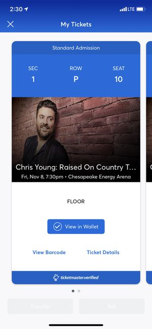 Chris young tickets for Sale in Choctaw, OK