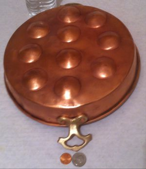 "Vintage Metal Copper and Brass Egg Pan, Copper Mold, Cookware, Kitchen Decor, Hanging Decor, Shelf Display, 10 Count Egg Pan, 10 1/2"" Wide and 13 1/2"" for Sale in Lakeside, CA"