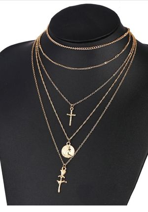 Rose Flower Cross Round Chain Pendant Multilayer Necklace for Sale in Los Angeles, CA