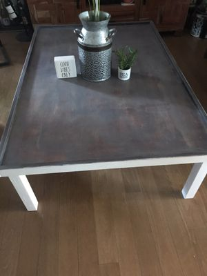Rustic distressed coffee table Rustic distressed coffee solid wood table solid wood measurements: 49.5 inches long ; 33.5 inches wide ; 15 inches hig for Sale in Fresno, CA