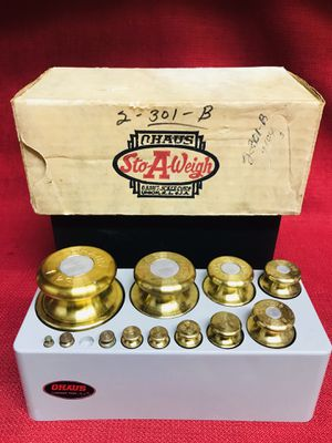 VINTAGE OHAUS STO-A-WEIGH BRASS SCALE WEIGHTS SET 1g - 1kg Good condition Missing 1-2gram weight☹️. for Sale in Las Vegas, NV