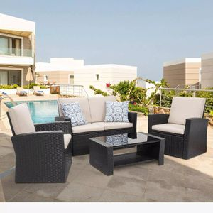 4 Piece Outdoor Patio Furniture Set - Black for Sale in Los Angeles, CA