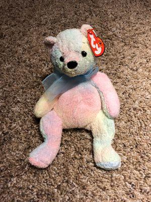 Ty Beanie Babies Mellow rainbow tye die pastel teddy bear plush plushie doll NWT vintage with blue ribbon teddy bear for Sale in Phoenix, AZ