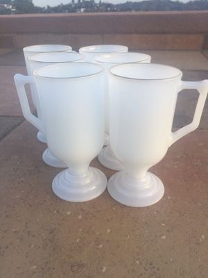 Set of antique milk glasses w handle for Sale in Los Angeles, CA