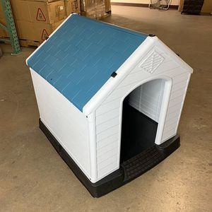 $75 (new in box) medium size dog house waterproof plastic indoor outdoor shelter cage kennel 35x31x32 inches for Sale in Whittier, CA