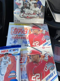 2 NBA HOOPS CELLOS, 2 MEGA BOXES OF TOPPS 2021 Series 1 MLB, 1 Mega Box Of Topps Chrome for Sale in Rancho Palos Verdes,  CA