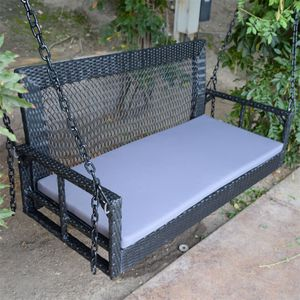 "60"" Black Wicker Porch Swing Outdoor Garden Furniture Patio Hanging Bench Hammock Backyard Chair HG05 for Sale in South El Monte, CA"