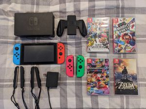 Nintendo Switch, 4 joycons, 4 games for Sale in Boston, MA