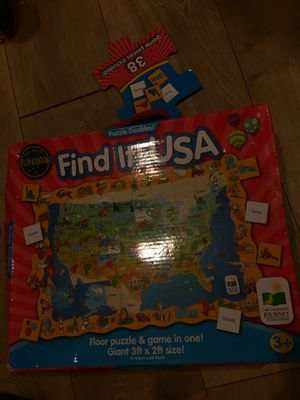Find it USA the Learning Journey puzzle & game 3ftx2ft new in box for Sale in Phoenix, AZ