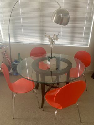Round Glass Table with 4 Red Chairs. Flower included :) for Sale in Cambridge, MA