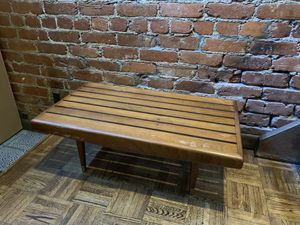 Mid century modern wood slat coffee table bench with brass feet for Sale in Washington, DC