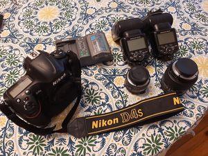 Nikon D4S + 2 batteries + charger + 50mm 1.8 AF + 28-105 macro + SB 900 + SB 910 lenses flash for Sale in West Hollywood, CA