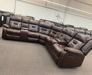 $1,399 $SE1,399 3 PIECES RECLINING GEL LEATHERETTE MOTION BROWN SECTIONAL 2 COLORS AVAILABLE DARK BROWN GREY DIMENSIONS LAF ARM LOVE SEAT W/ ON for Sale in Chino, CA