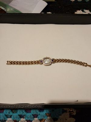 Pierre Cardin gold woman's watch diamonds and purple sapphires mother of pearl face for Sale in Fort Worth, TX