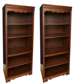 Two Broyhill solid cherry wood bookshelves with doors covering bottom two shelves for Sale in Montgomery, OH
