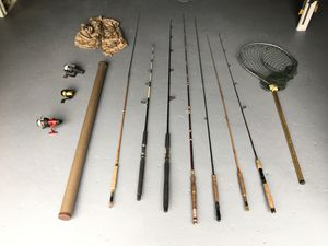 Lot of fly fishing rods, reels, net, vest, gear for Sale in McMurray, PA