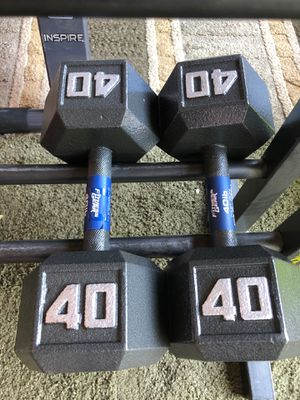 Set 40 lbs Dumbbells weights with stand for Sale in Thornton, CO