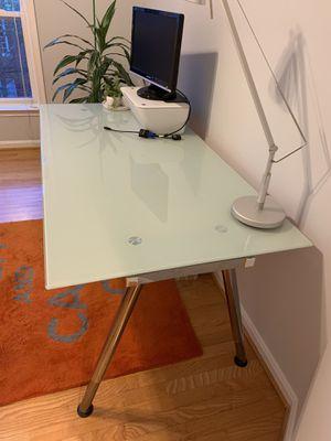 """Office desk. IKEA glass top desk. 63"""" x 31"""". Adjustable height. for Sale in Alexandria, VA"""