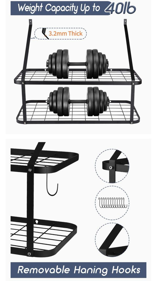 Wall Mounted Pots and Pans Rack, Rottogoon 2 Tier Pot and Pan Organizer 30 Inch Wall Pot Rack with 12 Hooks Kitchen Rack Organizer(Black)