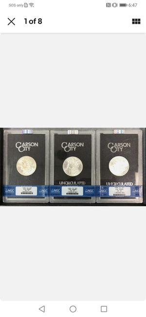 TRIO of GSA Carson City Morgan silver dollars 1882cc, 1883cc and 1884cc. ALL MS65 for Sale in Whittier, CA