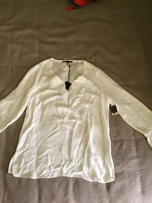 White embroidered silk blouse XS for Sale in Los Angeles, CA